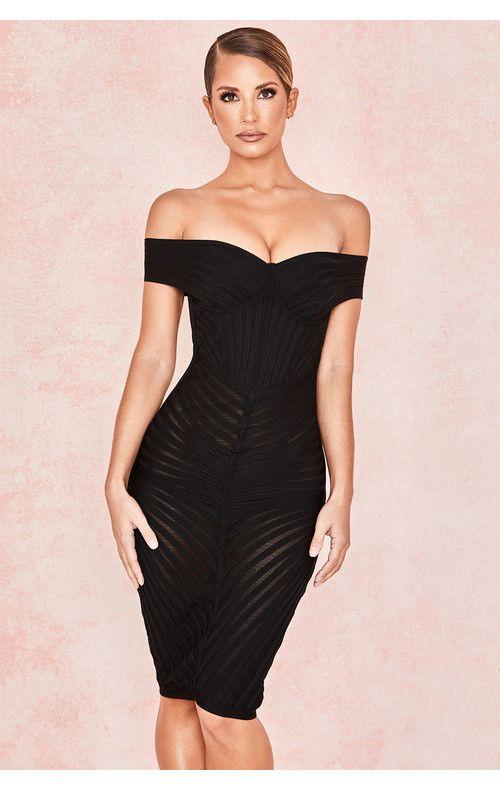 479b05d907d2ff Clothing   Bandage Dresses    Camellia  Black Off Shoulder Mesh + Bandage  Dress