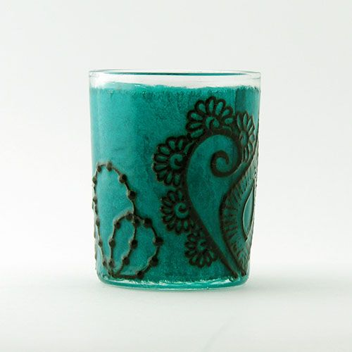 Opal Moon Henna Viridian Green Small Votive Gulf Style Hennaed Candle Holder $12 Cyber Monday Sale 20% off