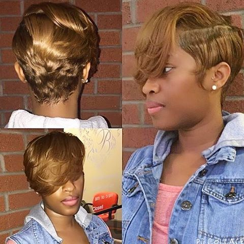 Stylist Feature Love This Honey Blonde Haircolor On Pixiecut Styled Chop Hairstylesshort