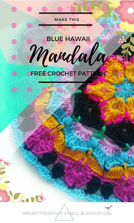 African Flower Mandala Blue Hawaii   Free Crochet Pattern - Love the African Flower Granny Square? Try this African Flower Blue Hawaii…