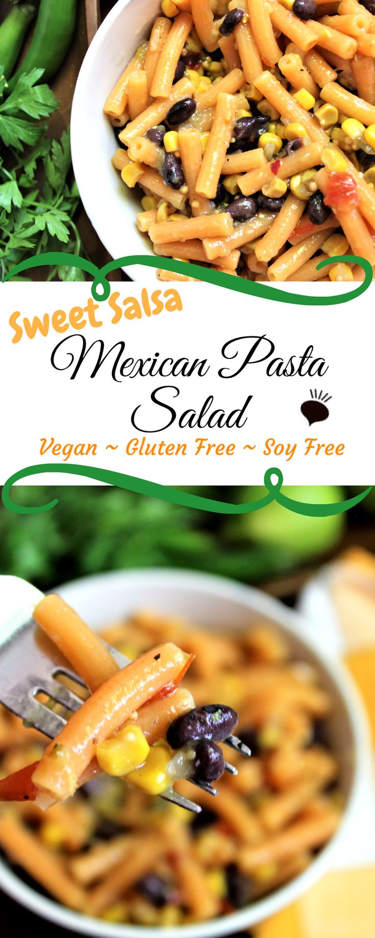 Sweet Mexican Salsa Pasta Salad from using red lentil pasta and salsa from Trader Joes is vegan and gluten free. Sweet with a little spice, this pasta salad is one of my kids' favorites! thehiddenveggies.com