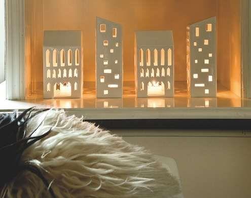 Kahler Urbania ceramic house candle covers