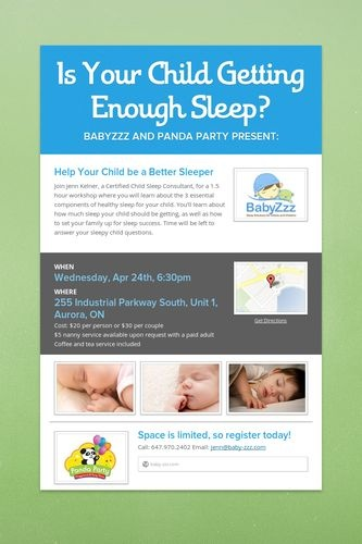 Is Your Child Getting Enough Sleep?  Help Your Child be a Better Sleeper April 24th at Panda Party