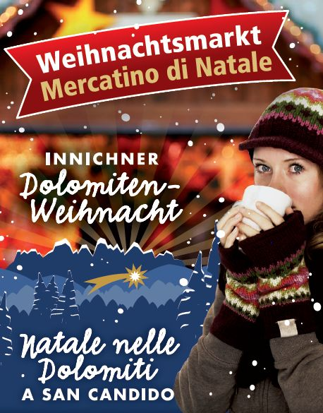 2015 Christmas market, in San Candido, about 150 miles north of Vicenza; Nov. 27-29, Dec. 4-Dec. 8, Dec. 11-12, Dec.. 18-23, 10 a.m.-7:30 p.m., Dec. 24. 10 a.m.-5 p.m.; closed on Dec. 25; Dec. 26-Jan.1, 2016, 11 a.m.-7 p.m.; live music and entertainment.