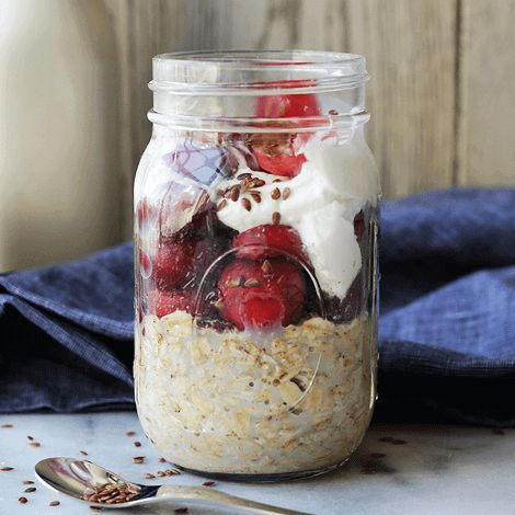Ingredients  porridge oats - 35g  fat free natural yogurt - 200g  Mixed blueberries, strawberries and raspberries  Instructions    Lay...