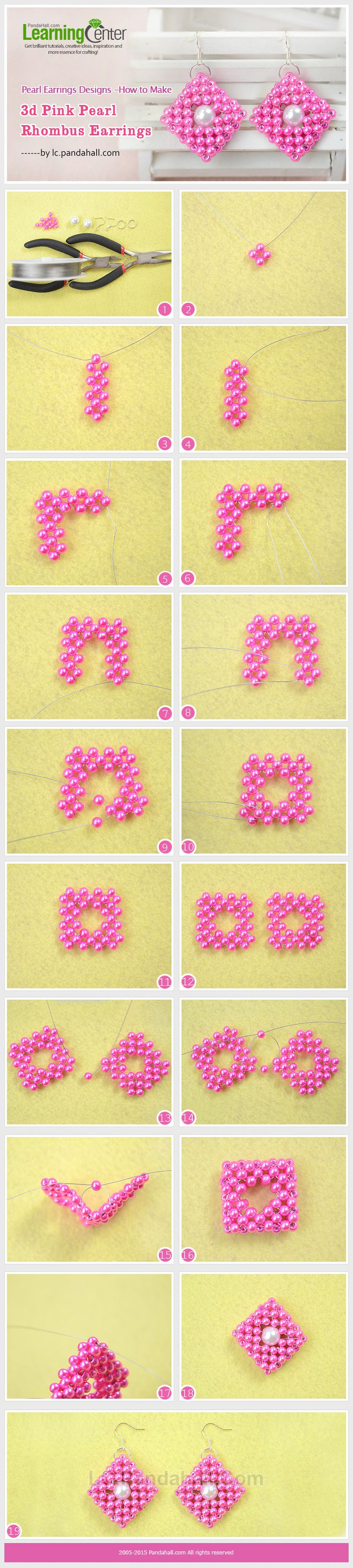 Pearl Earrings Designs -How to Make 3d Pink Pearl Rhombus Earrings ~ Seed Bead Tutorials