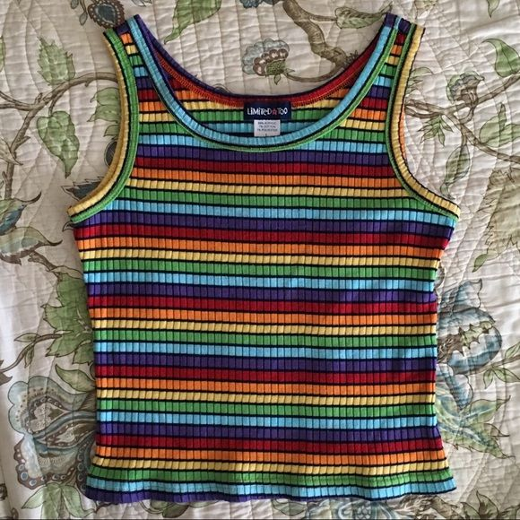 87aa9ca05ed683 Vintage 90s rainbow striped tank top Vintage 90s limited too rainbow  striped…