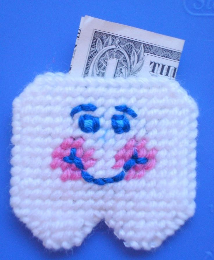 Tooth Fairy Pouch Smiling & Happy yarn and plastic canvas  | eBay