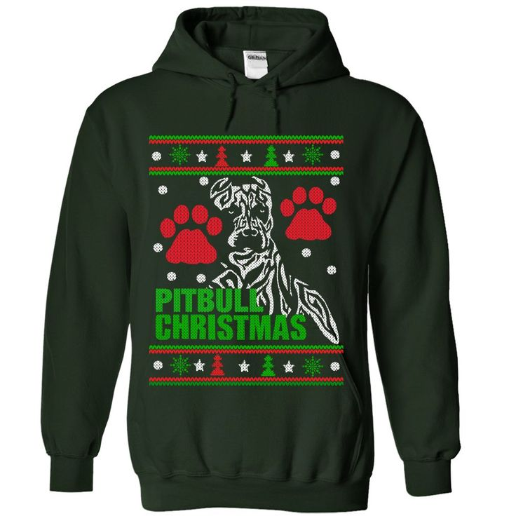 PITBULL CHRISTMAS SWEATER DESIGN ON A HOODIE UGLY SWEATER. Funny, Cute, Clever Pitbull Quotes, Sayings, T-Shirts, Hoodies, Tees, Clothing, Gifts. #Pitbulls