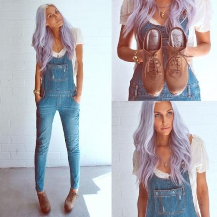 Como usar jardineiras jeans http://vilamulher.terra.com.br/como-usar-jardineiras-9-9383414-292365-pfi-raquelbellosi.html: Purple Hair, Clothes Fashion, Street Style, Cute Overalls, Lilac Hair, Edleman Clogs, Skinny Overalls, Arrowhead Necklace, Wanderer Overalls