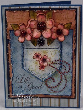 Heartfelt Creations | Distressed Posy Cluster Jean Pocket Card