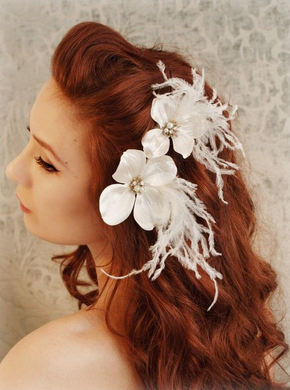 Wedding flower combs ivory wedding hairpiece by gardensofwhimsy, $34.00
