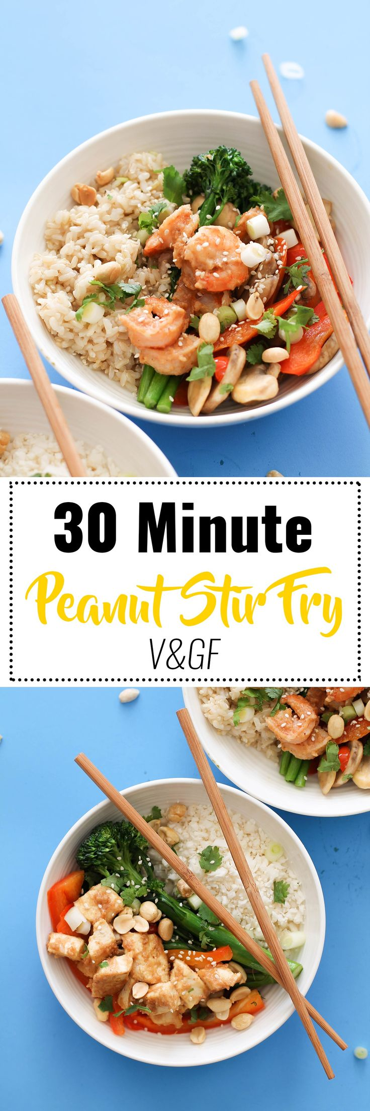 This 30 minute peanut stir-fry is an easy and delicious dinner option. Filled with protein, healthy fats, complex carbs, and fiber, this is healthier than any takeout option you could get. Plus, it's versatile to fit an dietary needs.