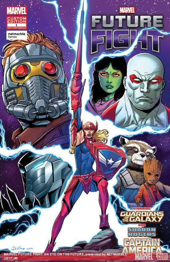 MARVEL FUTURE FIGHT: AN EYE ON THE FUTURE, PRESENTED BY NETMARBLE (2017) Published: April 25, 2017 Added to Marvel Unlimited: April 26, 2017 Rating: No Rating Writer: Marc Sumerak Penciler: Andrea Di Vito Cover Artist: Andrea Di Vito Sharon Rogers is Captain America. As the daughter of Steve Rogers and Sharon Carter she is more than up to the job. But her next SHIELD