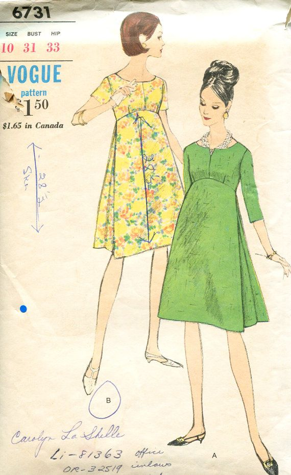 Vintage 60s Maternity Sewing Pattern Scoop Neck Slit Empire Waist Side Pleats Size 10 Vogue 6731