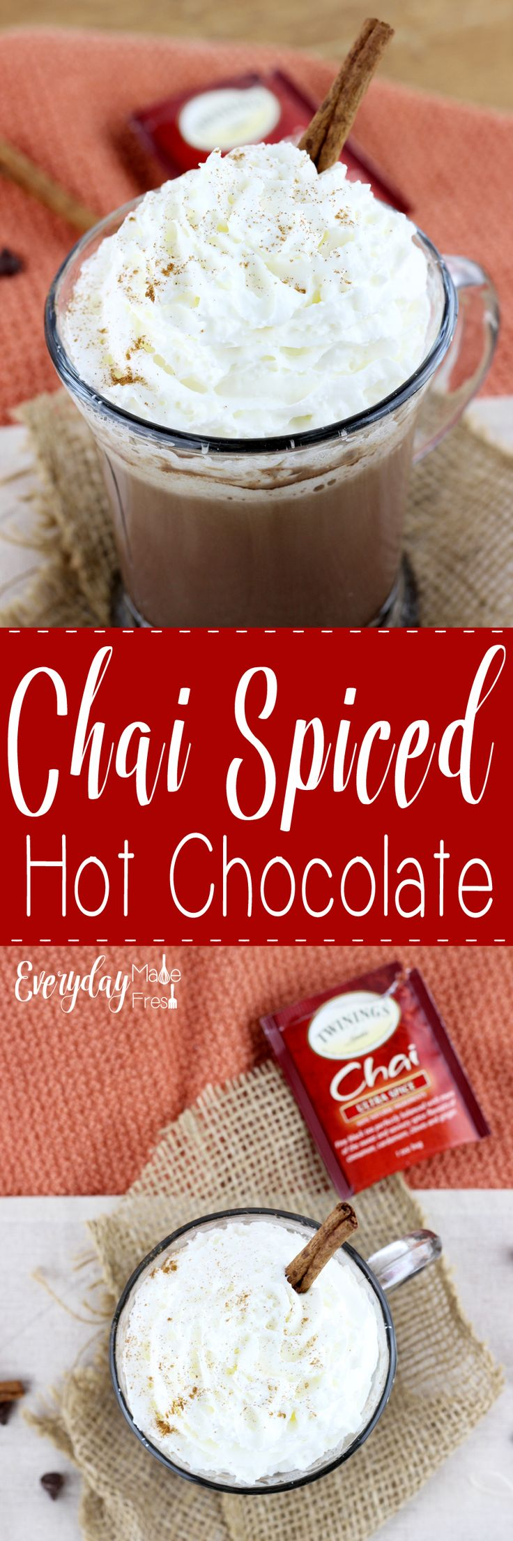 Chai Spiced Hot Chocolate is the perfect warming drink for all those cold winter days ahead! | EverydayMadeFresh.com http://www.everydaymadefresh.com/chai-spiced-hot-chocolate/