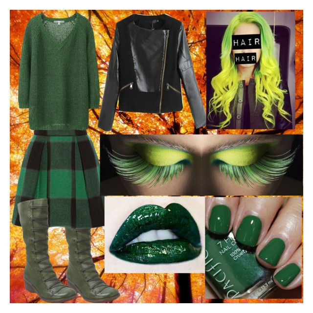 AUTUMN (GREEN AND BLACK) by slytheriner on Polyvore featuring Uniqlo, Chicnova Fashion, Sea, New York, Miz Mooz and Pacifica