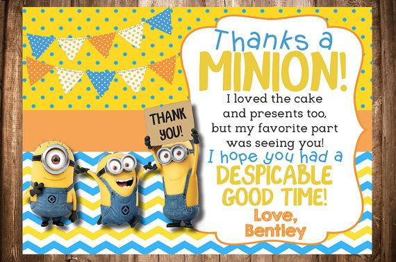 Minion Thank You Card by WonderstruckPrints on Etsy