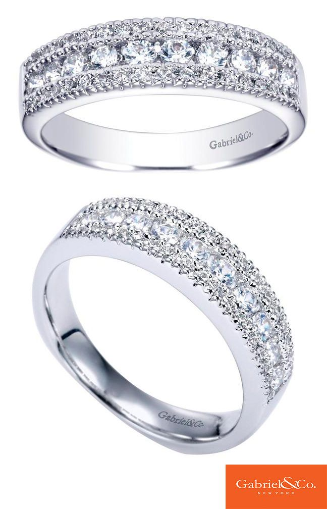 14k White Gold Diamond Straight Wedding Band By Gabriel