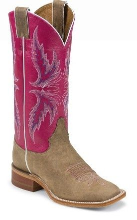 Justin Women's Bent Rail Tan Vintage Cow Square Toe Boots -- These pink and tan cowgirl boots are great for Spring! | SouthTexasTack.com