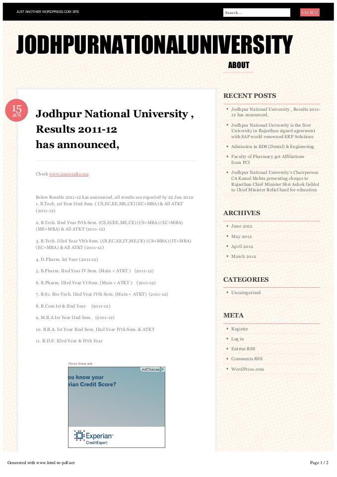 #KamalMehta #JodhpurNationalUniversity Jodhpur National University has been announced Professional Education results. Here all can check your results through online in Jodhpur National University Website.