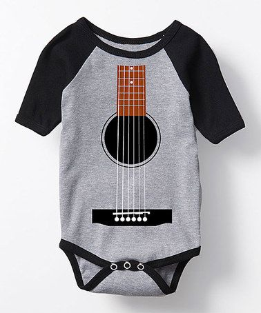 Loving this Athletic Gray & Black Guitar Tuxedo Raglan Bodysuit - Infant on #zulily! #zulilyfinds