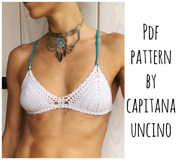 PDF-file for Crochet PATTERN, Marina Crochet Bikini Top Sizes XS,S,M,L, by CapitanaUncino on Etsy