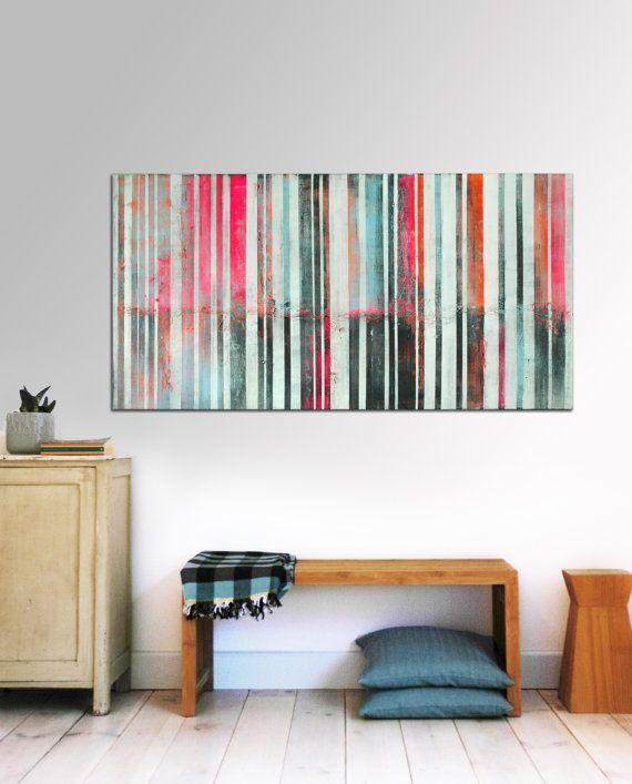 Large Abstract Schilderij  Pop Art Neon Pink door RonaldHunter, $419.00