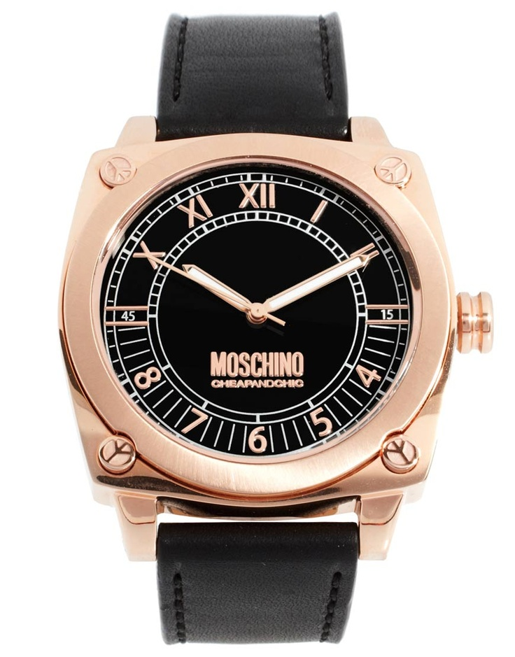 LOVE THIS SEXY Moschino Mens MW0297 Black Leather Strap ...