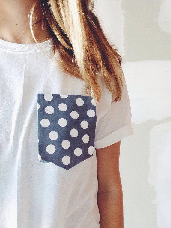 grey polka dot pocket tee - any size via knitvie on Etsy. $18.00