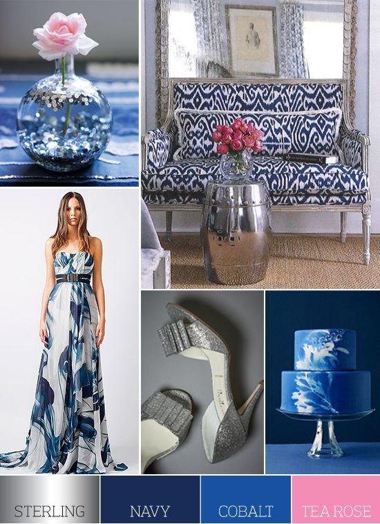 Chic combo! Color Palette: Sterling, Navy, Cobalt and Tea Rose | Flights of Fancy