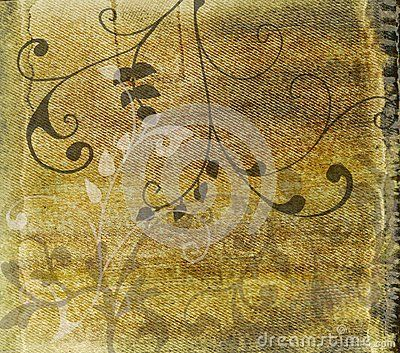 Abstract grunge texture with floral design