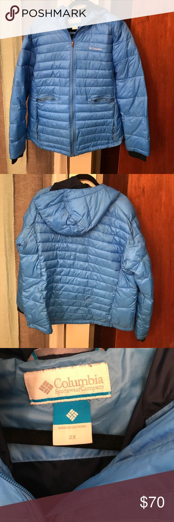 Columbia Sportswear hooded down coat Beautiful light blue, with navy blue interior. Lightweight down. Had a hold, and four outer pockets, as well as inner pocket on left chest. Perfect for ski pass or keeping your phone dry. Only worn twice last winter. Columbia Sportswear Company Jackets & Coats Puffers