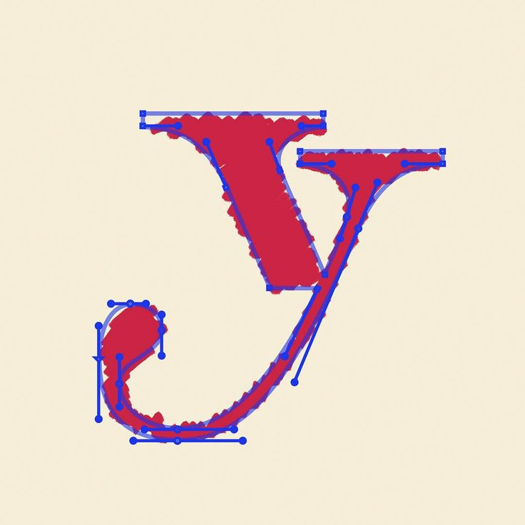 #alphalogproject : y ⠀ When you're building a letter with bracketed serifs, it's best to use standard shapes so there aren't any inconsistencies. With the serifs for this y, I built them with a rectangle and then joined the shapes with the curves so I could have a bit more control over the curves and form.