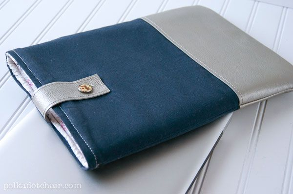 DIY Leather Laptop Sleeve, a free sewing pattern for a laptop case, a tutorial for a laptop sleeve trimmed with leather, DIY Laptop Tote