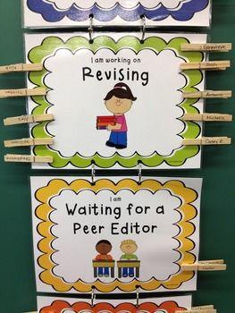 WRITING PROCESS CLIP CHART ~ CHEVRON RAINBOW THEME - TeachersPayTeachers.com