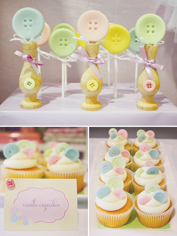 best  button cupcakes ideas on   button in html, Baby shower invitation