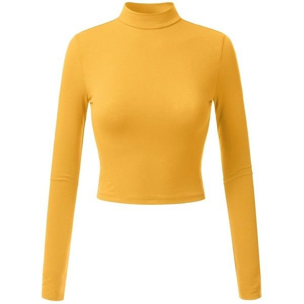 Doublju Womens Classic Long Sleeve Crop top ($13) ❤ liked on Polyvore featuring tops, long sleeve tops, crop top, yellow long sleeve top, cut-out crop tops and knit crop top