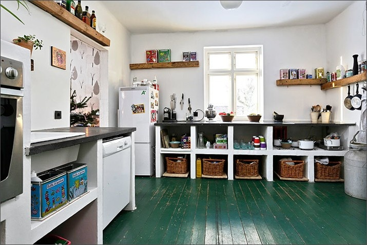 green floorFarms House, Painting Kitchens Floors, Decor Ideas, Colors, Green Crafts, Green Floors, Interiors Design, Painting Floors, Corktown House