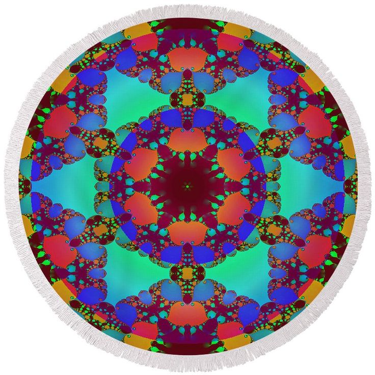 Abstract fractal floral decor #round #beach #towel #fractalart #turquoise #blue #red #orange #ethno #mandala #kaleidoscope #fantasy #surreal #floral #flower