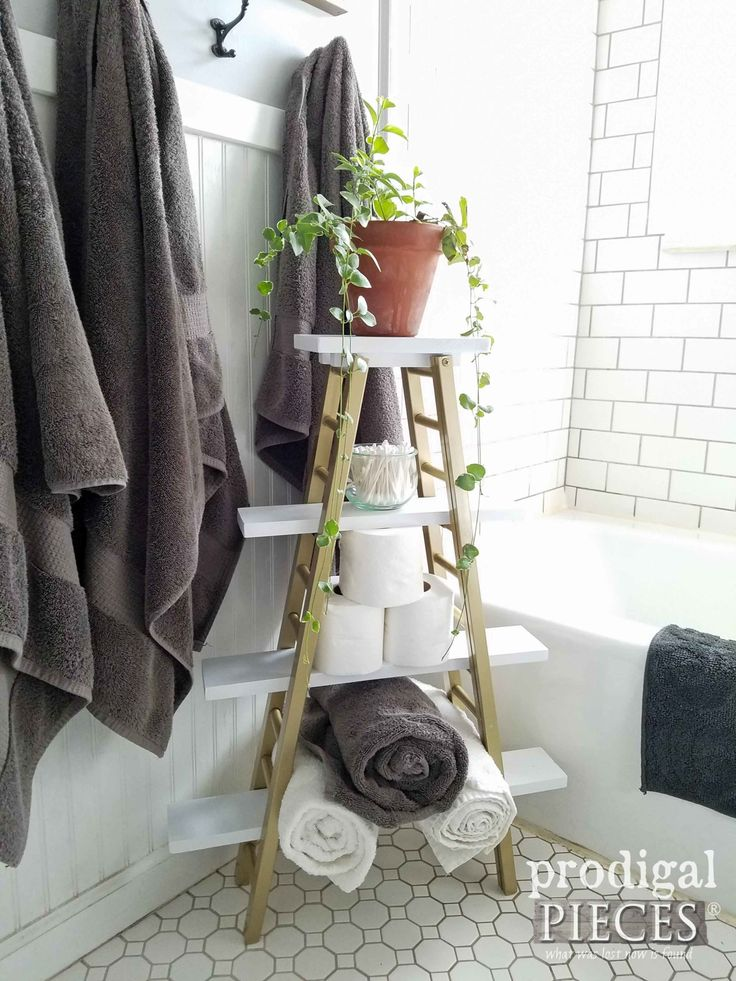 Repurposed Towel Rack for Modern Chic Boho Bathroom Decor from Bed Rails by Prod...