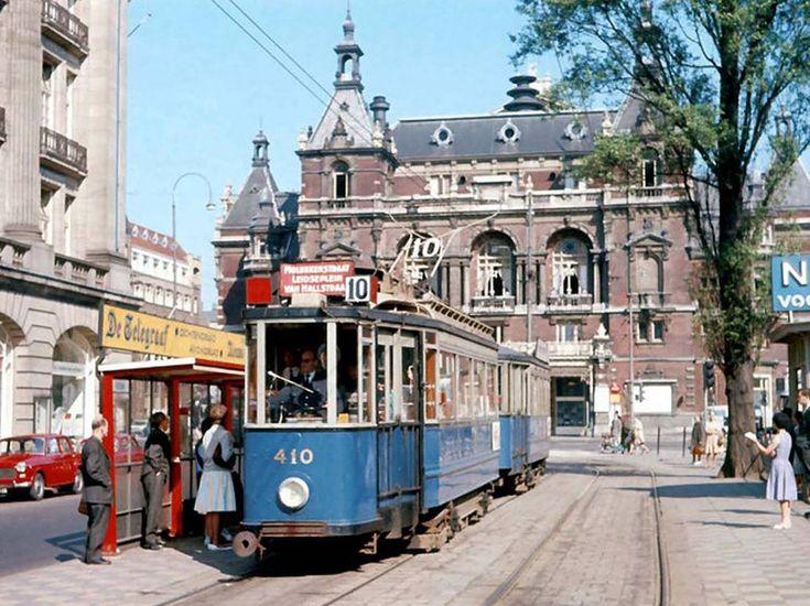 De oude tram op het Leidseplein, Amsterdam (1964)