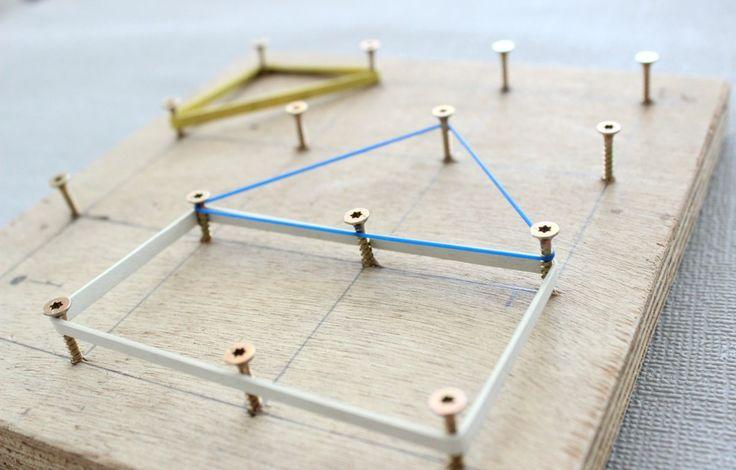 DIY, Kids, Werken mit Kindern, Geometriebrett, Geometrie, Lernspielzeug selbstgemacht,