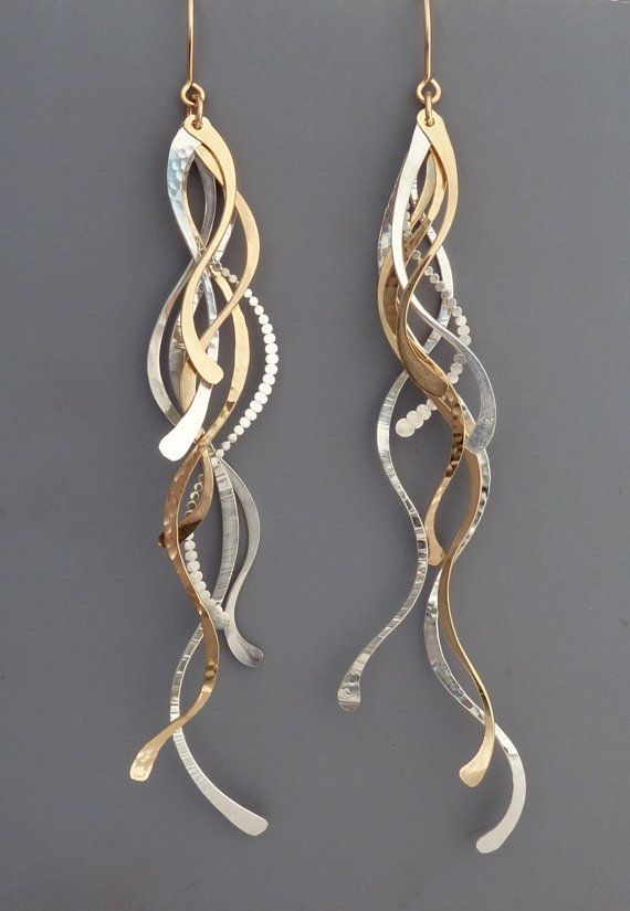 Gold and silver spiral dangling earrings - so elegant