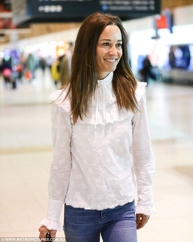 Pippa Middleton was pictured leaving Sydney on Thursday morning - despite yesterday's activities, she was full of smiles