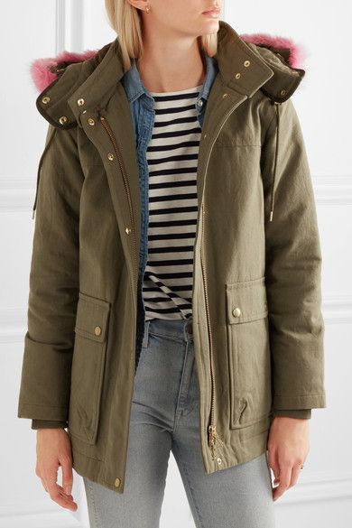 J.Crew - Collection Faux Fur-trimmed Cotton-canvas Parka - Army green - xx small