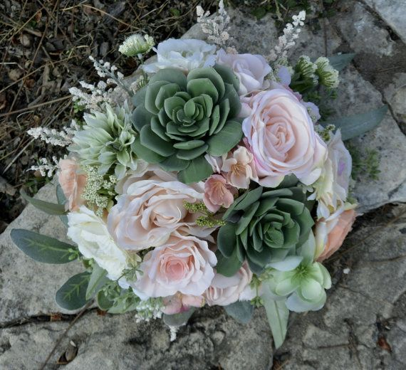Blush & Sage Succulent Bouquet by BOUKAYSBYKAY on Etsy