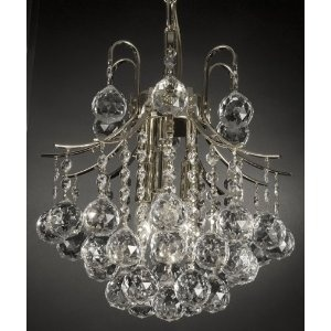 French Empire Crystal Chandelier Chandeliers Lighting , SILVER , H13 X Wd12 , 3 Lights