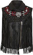 жилет, женский, черный, кожаный, с вышивкой, с бахрамой