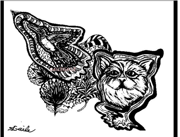 cat after hummingbird digital download for use as a coloring page print or complete paint programcoloring